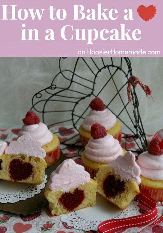 How to Bake a Heart in a Cupcake   Recipe & Instructions on HoosierHomemade.com