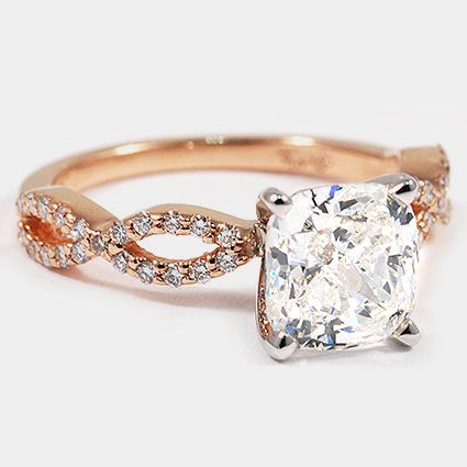 14K Rose Gold Infinity Diamond Ring // Set with a 1.82 Carat, Cushion, Very Good Cut, H Color, IF Clarity Diamond #BrilliantEarth