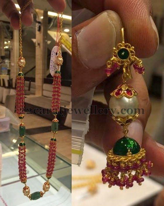 Jewellery Designs: Ruby Beads Set and Jhumka
