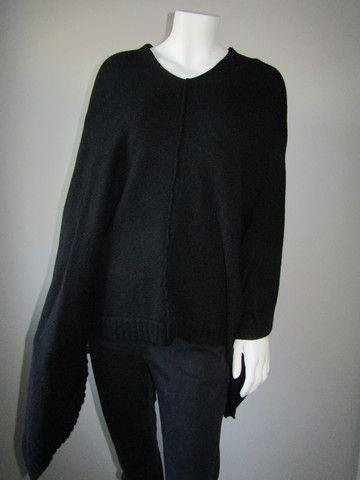 Lagenlook black poncho