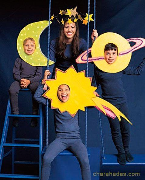 Solar system costume, DIY costumes, disfraces - Carnival and halloween - Disfraz DIY de sol, luna y estrella