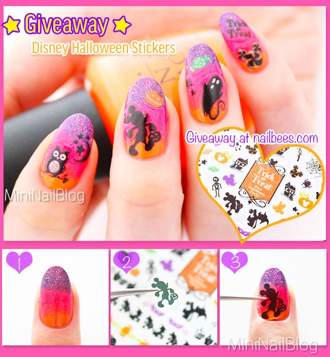 Disney Halloween Nail Art Stickers!! In the giveaway package at nailbees.com! Make sure to enter!! https://nailbees.com/disney-halloween-nail-art #HalloweenNailArt #Disney #Giveaway
