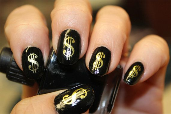 43 Gold DOLLAR Signs Poker CASINO MONEY Bling Nail Art - Waterslide Decals not Stickers..$4