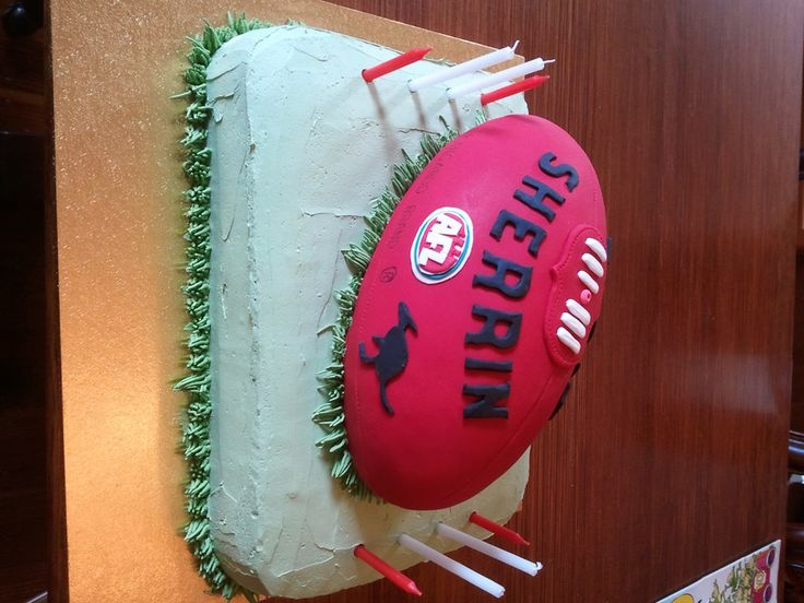 Blake's Afl Football Cake This cake was made for my son's 8th birthday. The base is a chocolate cake layed with chocolate ganache...
