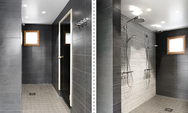 Pesuhuone ja saunan lattia, erillinen kylpyhuone, erillinen wc ja kodinhoitohuone, yht. n. 25 m². Rauhalliset ja maanläheiset sävyt miellyttävät silmää ja toimivat hyvin pohjana muulle sisustukselle. Laatat ovat rektifioituja, joten ne voitiin asentaa tavanomaista kapeammin saumoin.