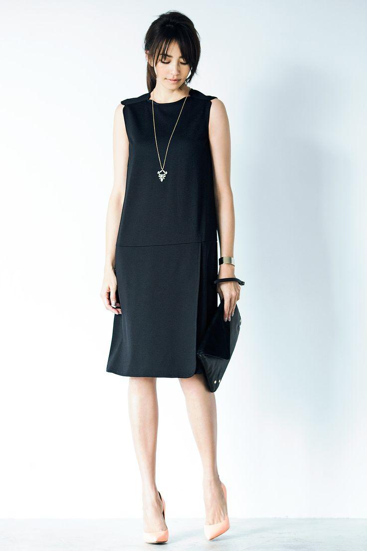 フォーマルシーンでも そこはかとなく華やぐブラック|IEDITレーベルコレクション 布はく見えきれいめカットソーのリトルブラックドレス