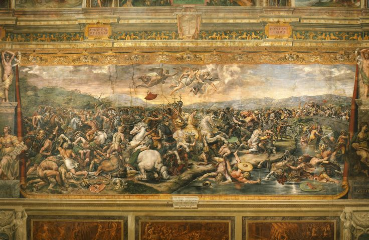 """Battaglia di Costantino contro Massenzio, School of Raffaello Sanzio -Giulio Romano. The Battle of the Milvian Bridge is a fresco in one of the rooms that are now known as the Stanze di Raffaello, in the Apostolic Palace in the Vatican. The Battle of Milvian Bridge, located in the Sala di Costantino (""""Hall of Constantine""""), is by Giulio Romano and other assistants of the Italian Renaissance artist Raphael. It was most likely painted to Raphael's design between 1520 and 1524."""