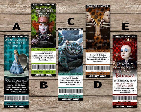 Alice in Wonderland  Ticket Invitation by by gloriasDigiCards, $10.00