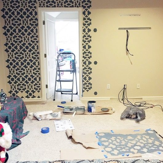 Stenciling a DIY accent wall using the Zamira Allover Stencil from ...
