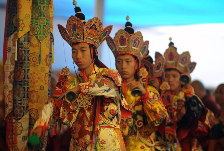 Monks perform a ritual dance known as 'Cham' during the last day of the Kalachakra Festival in Bodh Gaya, on January 10, 2012. (Diptendu Dutta/AFP/Getty Images)
