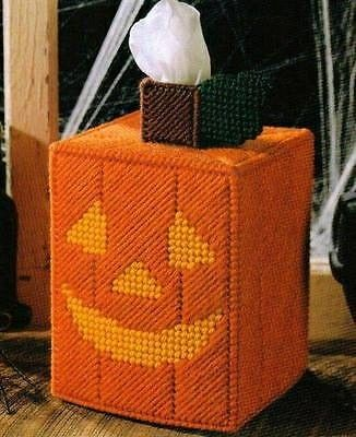 Jack O Lantern Tissue Box Cover from Holiday Fun in Plastic Canvas Book 8