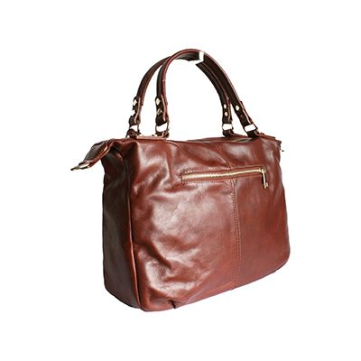 Sandy Italian Brown Leather Satchel Handbag - £64.99