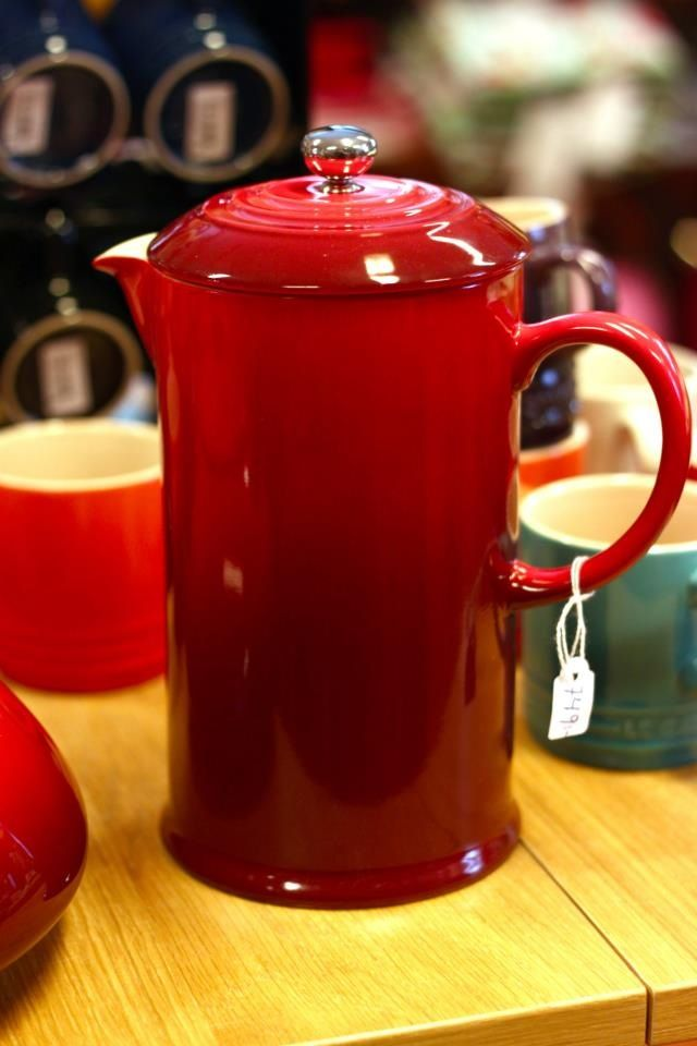 Le Creuset Stoneware ~ French Press, Cherry i want this!