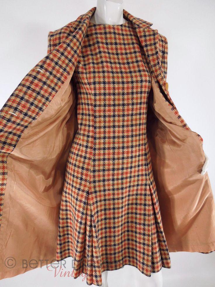 1960s Plaid Tweed Shift Dress & Coat Set in Blue Orange Olive Taupe - med, lg by Better Dresses Vintage