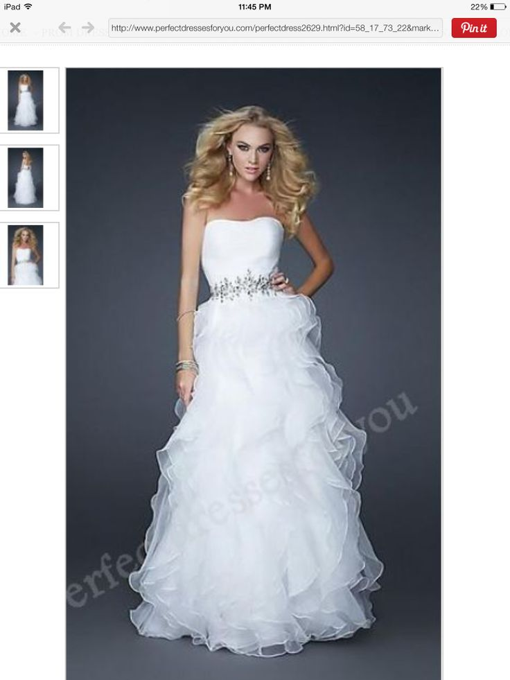 Cache A line Strapless Floor length Organza White Prom