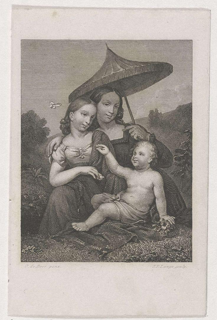 Johannes Philippus Lange   Drie kinderen in de natuur, Johannes Philippus Lange, 1838   Twee jonge meisjes en een kind met lendedoek in de natuur. Het rechter meisje houdt een parasol boven haar hoofd.