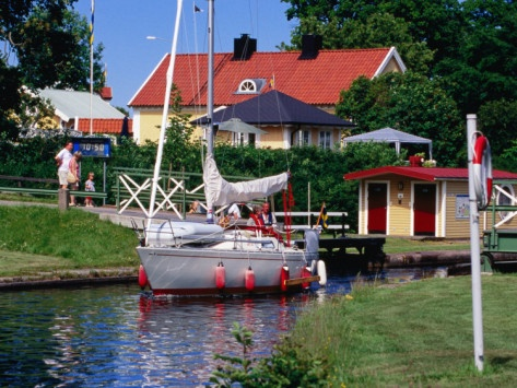 Sailboat on Gota Kanal, Borensberg, Ostergotland, Sweden
