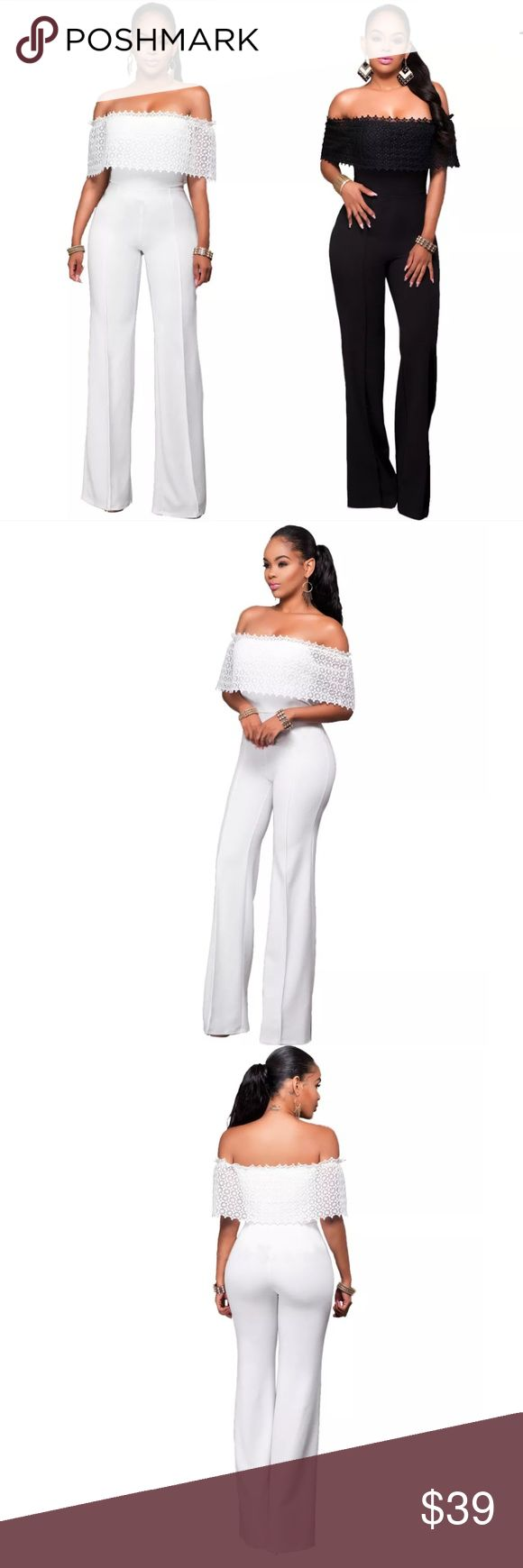 Sultry, Sassy and Sweet Absolutely Stunning Combination. Long trousers Ready to Party Romantic Romper. Elegant white Nylon and Lace showcase your stunning figure. Flattering material very forgiving and stretches where needed. Fit those sexy curves! L. 140cm shoulders 32 Bust 90 waist 72 hips 97 Other