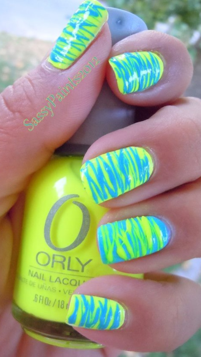 bright neon, blue and green nails