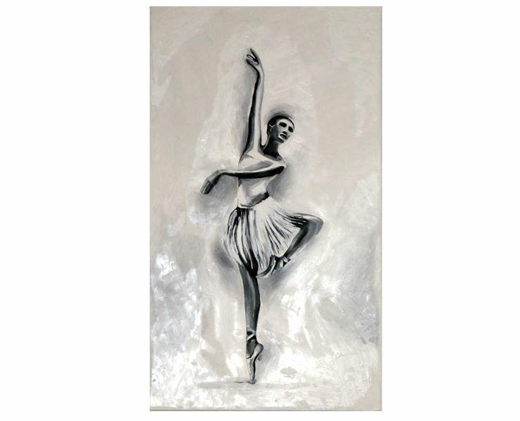 Balet. Malarstwo impastowe. Obraz werniksowany, czarno-biały. #malarstwo_impastowe