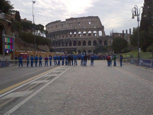 The Rome marathon starts in Via dei Fori Imperiali, in the shadow of the Colosseum. 17 March 2013