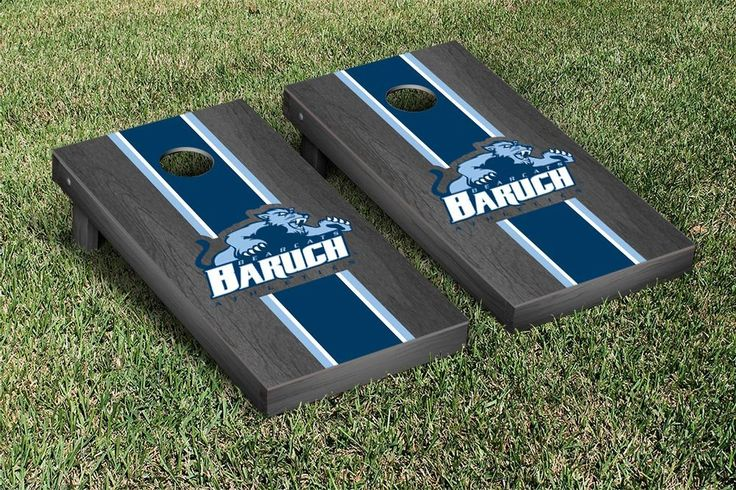 Cornhole Set - Baruch College CUNY Bearcats Onyx Stained Stripe Version