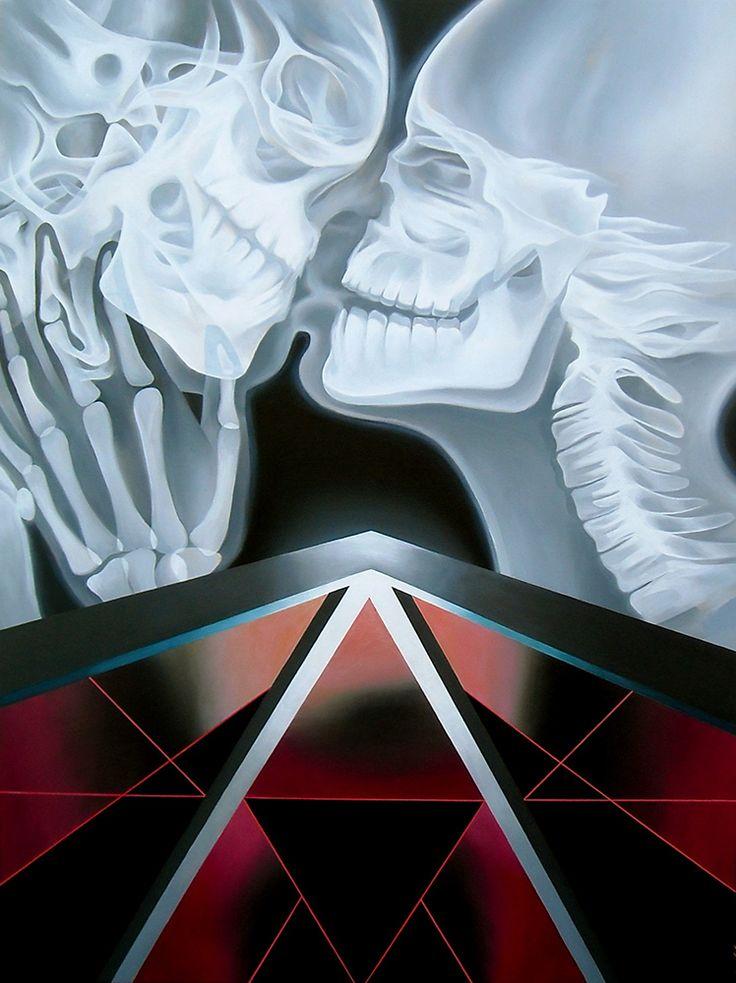 JENNIFER CLARK - LOVE, UNIVERSAL II Acrylic on Panel,  40˝ × 30˝