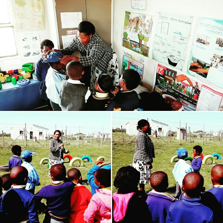 Ms Noluthando, a final year Diploma in Grade R Teaching student, engaging learners in in & outdoor activities during her recent Practice Teaching session at the Emhlanga Junior Secondary School, Bizana. @ECDOEZA @higheredugovza @DBE_SA #education #students #teaching #teachersfollowteachers #rural #quality #