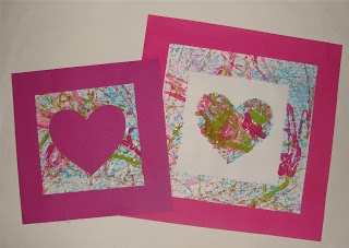 marble art heart art project - 3rd grade Valentine, make into card for parents, matte and display large art on principal's window?