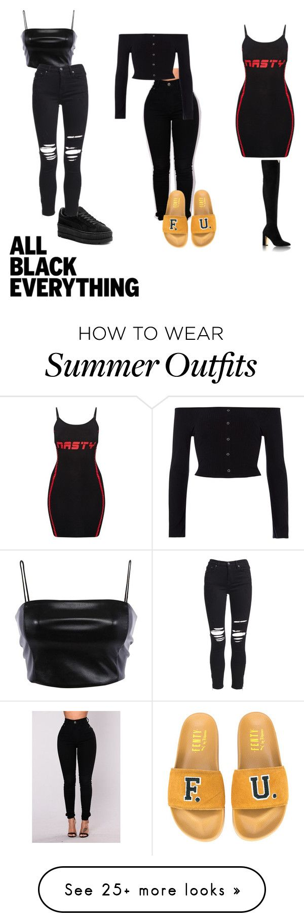 """"""""""" by deligon on Polyvore featuring Puma, River Island, AMIRI and allblackoutfit"""
