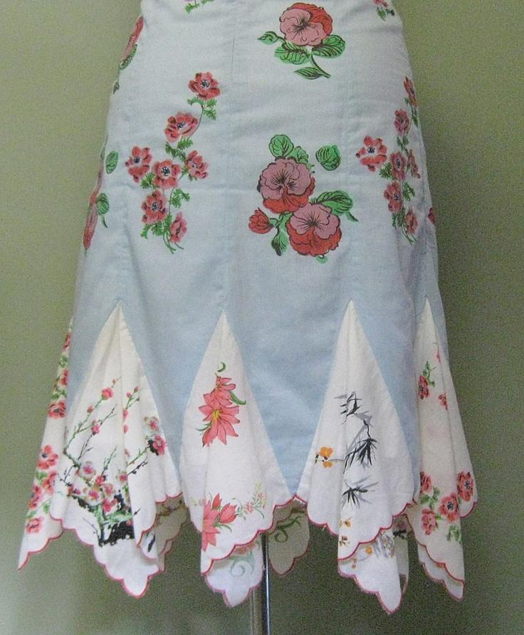 Vintage Handkerchief Hem Skirt, Cotton Floral & Lined, $80
