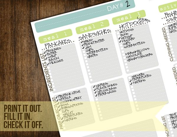 Camping Checklist- so you don't forget the spatula!