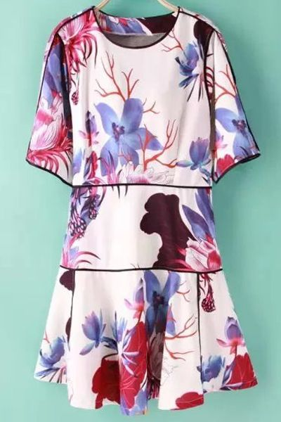 Floral Print Jewel Neck Half Sleeve Dress #women, #men, #hats, #watches, #belts