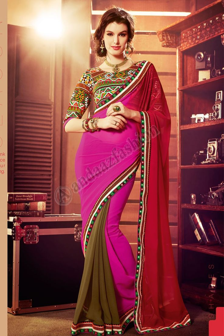 Multi Georgette Saree Conception n ° DMV7591 Prix: - 74,43 € Type de robe: Saree Tissu: Georgette Couleur: Multi Décoration: brodé, Resham, Zari Pour plus de détails: -http://www.andaazfashion.fr/multi-georgette-saree-with-dupion-silk-blouse-dmv7591.html