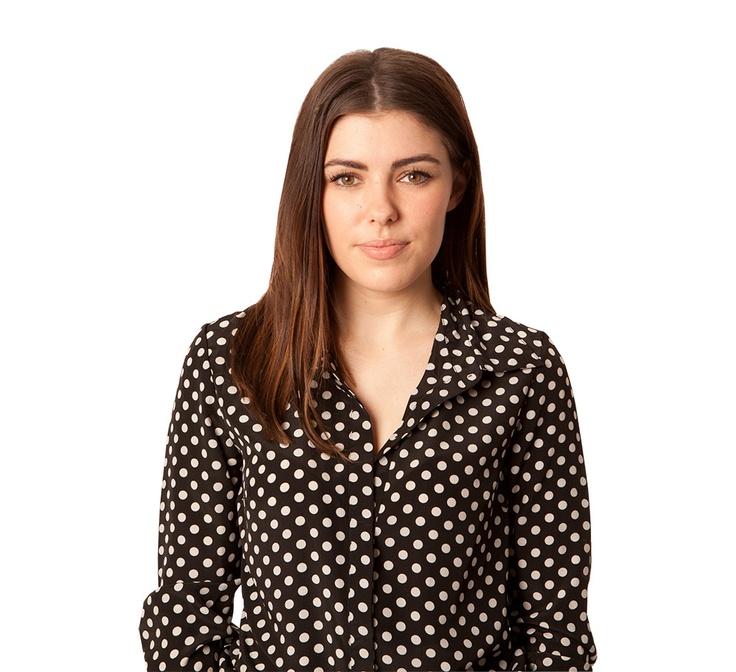 Basic polka dot blouse on Kellie.