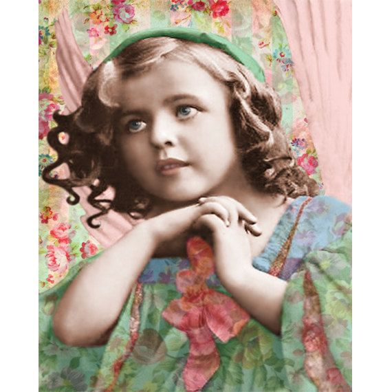 Vintage angel goddess hand painted photomontage digital art print. Sweet young vintage child, a pink winged angel in her Voogs hand painted aqua, blue and pink bowed party dress. Amid a new Voogs created modern background of vintage aqua striped wallpaper, clusters of pink and blue flowers and more floral over print wallpaper. I loved making her so much I have also made her in Sepia. The enchanting and delightful 1920 s or 1910 young goddess re created, reconstructed to be loved again, a…