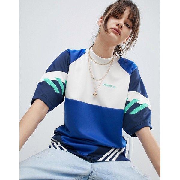 adidas Originals Nova Colourblock T-Shirt (220 ILS) ❤ liked on Polyvore featuring tops, t-shirts, blue, raglan t shirt, blue striped t shirt, retro t shirts, crew t shirt and blue jersey