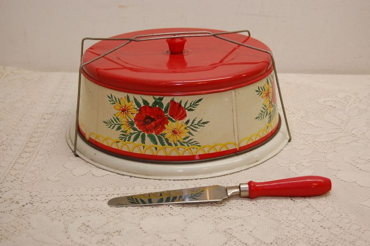 Vintage Cake Carrier Tin Metal Pie Pastry Cake Safe Toleware Painted Floral Lid Set Matching Cake Knife by JunquePro on Etsy