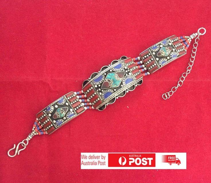Bracelet Handmade Tibetan Silver Turquoise Lapis Coral Tribal Women Jewellery 14