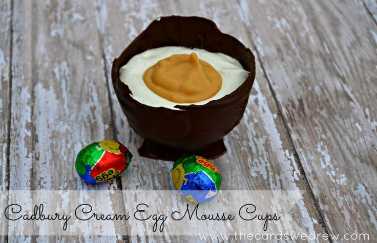 Cadbury Cream Egg Inspired Mousse Cups - The Cards We Drew: Cream Eggs, Thecardswedrew Com Easter, Mousse Cups, Easter Recipes, Cups Thecardswedrew, Cadbury Cream, Eggs Mousse, Cups Easter, Easter Treats