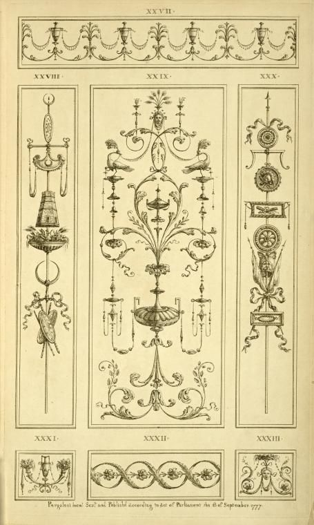 [Central ornamental design with birds, faces, and vegetal shapes.] (1777-1784)