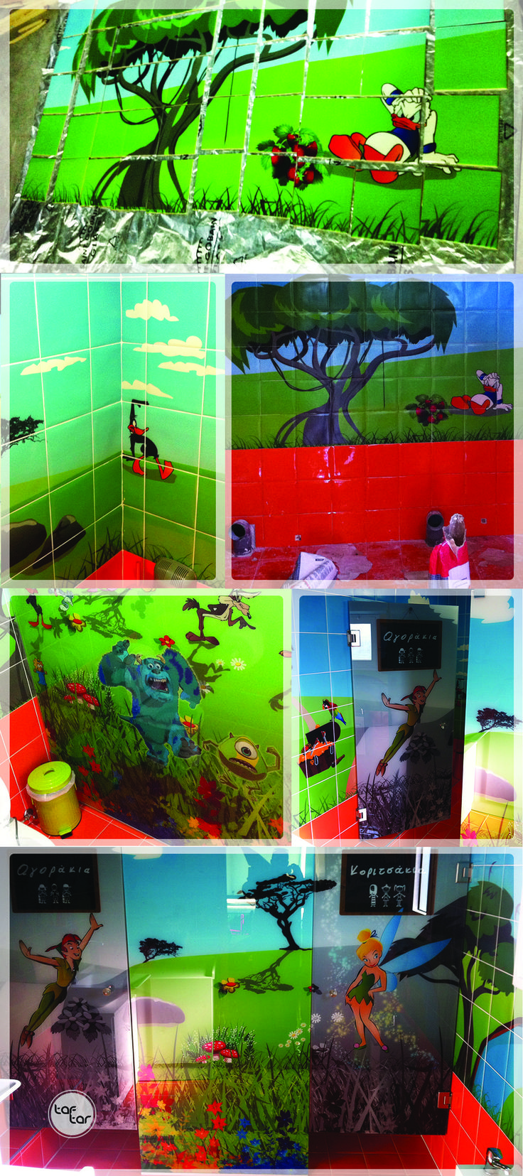 / UV printed tiles and security glasses for a playground's kids toilet. //  / UV εκτύπωση σε πλακάκια και κρύσταλλα ασφαλείας για την παιδική τουαλέτα παιδότοπου. //