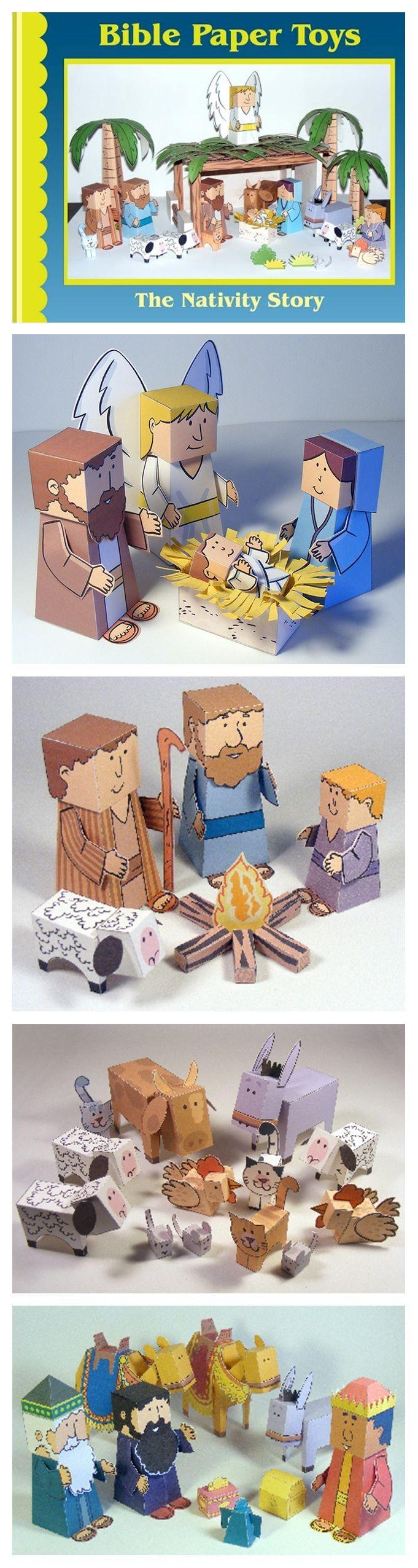 Nativity paper craft for kids - lots of cute little folded manger animals
