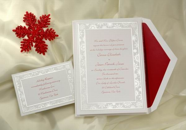 Simple white wedding invitation with silver border and red envelope liner. I would probably add some gold letterings for the Bride and Groom names.
