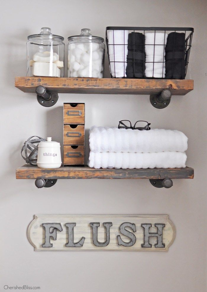 4 Ways to Add Farmhouse Style {Printable Included}-- industrial pipe shelves