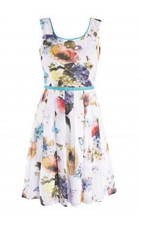 Sukienka w kwiaty - http://www.emonnari.pl/sukienki/5226-sukienka-w-kwiaty.html#/rozmiar-40/kolor-bialy