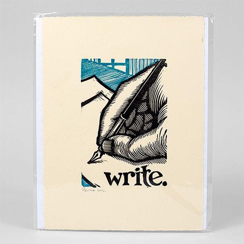 Write - linocut block print by Peter Nevins