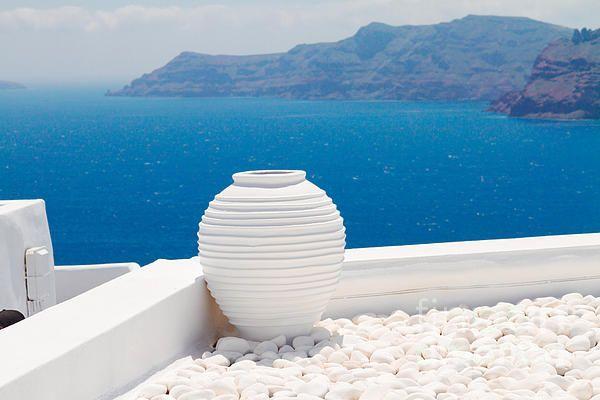 White greek amfora against volcano caldera and sea, beautiful details of Santorini island, Greece #AnastasyYarmolovichFineArtPhotography  #ArtForHome #Greece