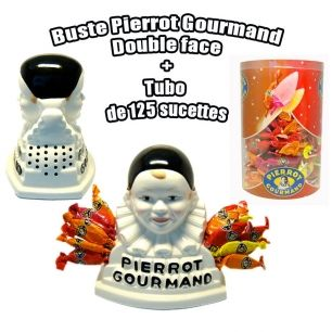 Buste double face pierrot gourmand + 125 sucettes