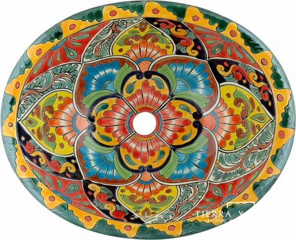 Candelaria Mexican Talavera Ceramic Drop-In Bathroom Sink (gorgeous, but sure would hate to drop my contact in there!)
